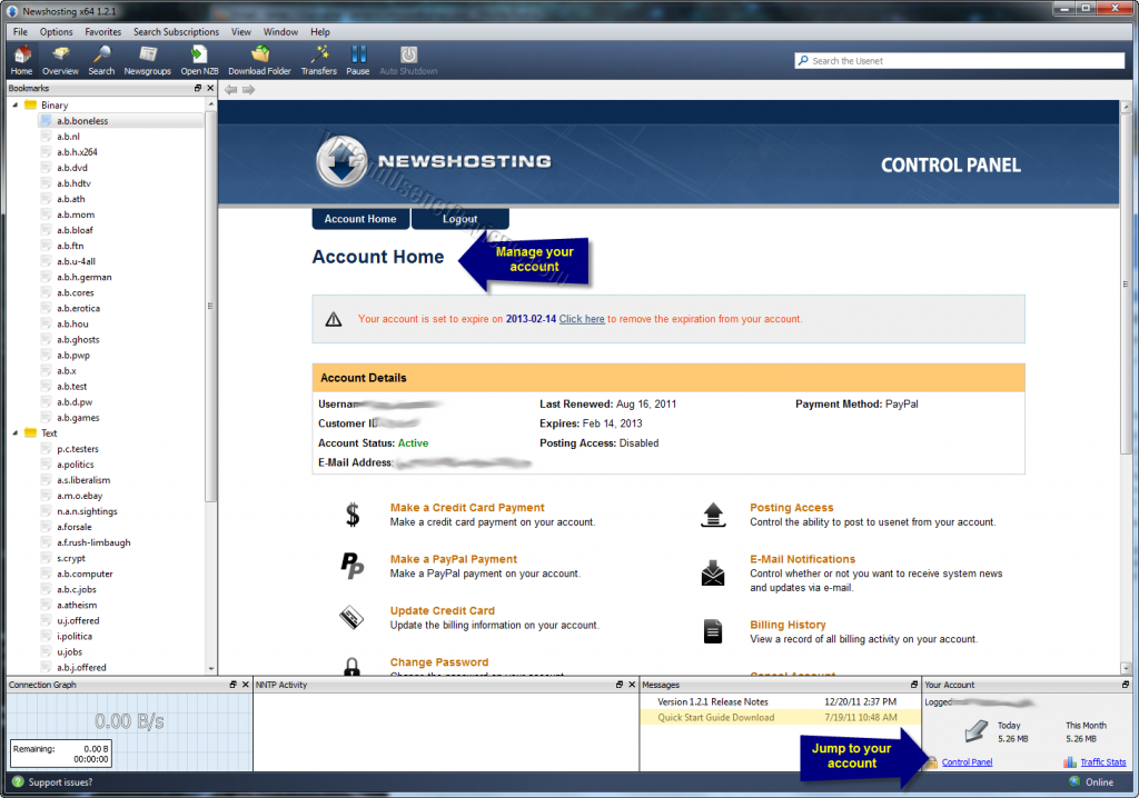 newshosting newsreader account control panel