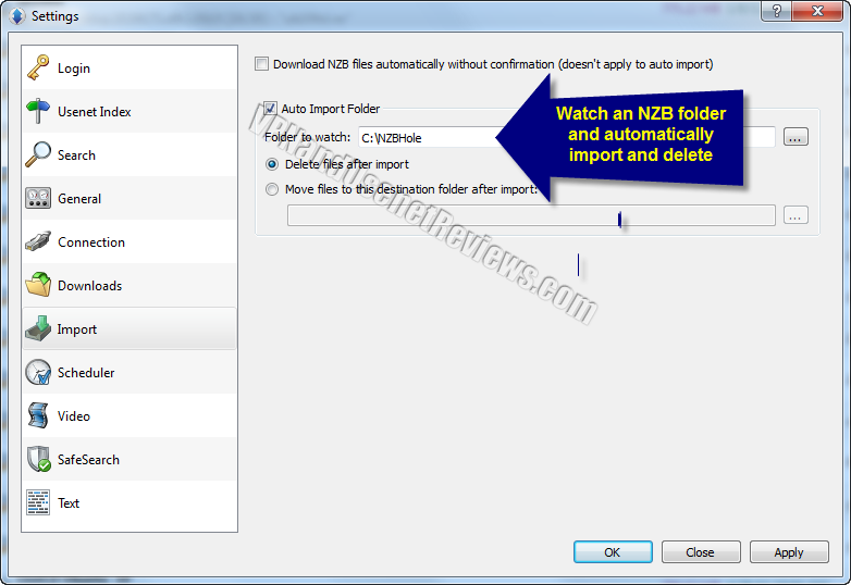 newshosting newsreader import settings