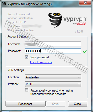 vyprvpn app for giganews settings connected