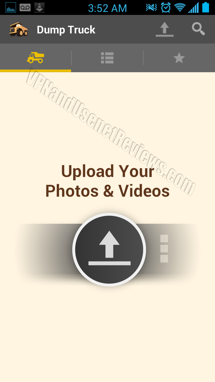 DumpTruck for Android Upload Screen