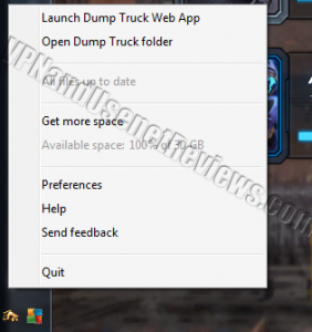 DumpTruck for Windows Status Bar Menu