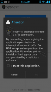 VyprVPN for Android App Permissions