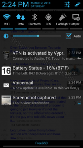 VyprVPN for Android Status Panel